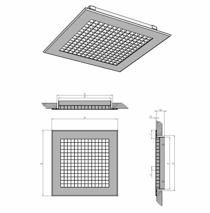 Egg Crate Grille Diffusers : Egg crate grille fixed core