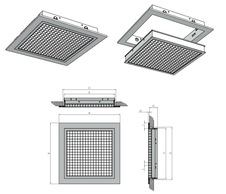 Egg Crate Grille Diffusers : Egg crate grille removable core
